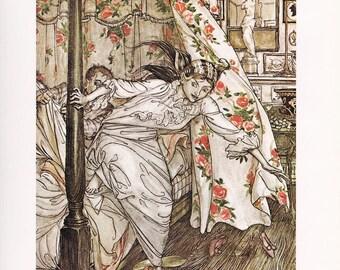 Venus and the Cat Aesop's Fables fine art print Arthur Rackham vintage illustration  home decor 8.5x11.5 inches