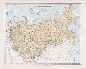 1897 Russian Empire original vintage political map cartography old map antique 8x10 inches