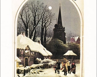 Christmas vintage fine art print Music Sheet Cover, English town snow moonshine quadrille 8.5x11.5 inches