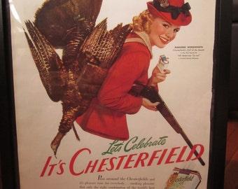 Chesterfield Cigarette Advertising 1941 - Framed for Display