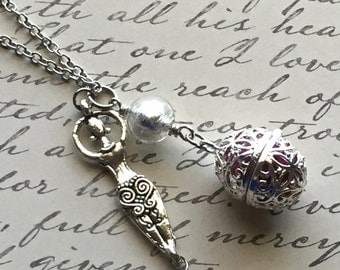 Essential Oil Diffuser Necklace with Egg Locket and Goddess Charm