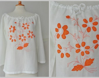 White Vintage Blouse With Orange Embroidery // Flowers