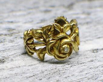 18K Diamond Roses Flower Ring