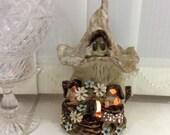 Fairy house oil burner, night light house, tea light burner, candle holder