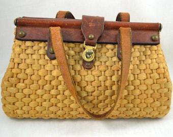 Vintage 1960s 60s John Romaine Purse /  Straw Tweed Leather Bag  / Handbag Lion Emblem / Top Handle Bag / Leather Purse / Straw Purse