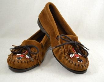 Vintage vtg Leather Minnetonka Moccasins Women's Shoes Flats Size 8 Woven Fringe Beaded