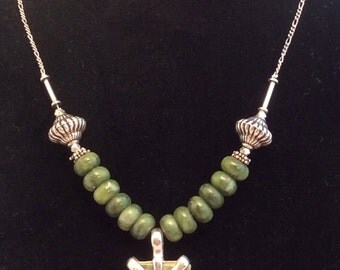 "17 or 18"" Green, White & Brown Fancy Jasper Pendant Necklace. Sterling Silver, Lampwork Glass or Jade, free US ship 89.00 ea"