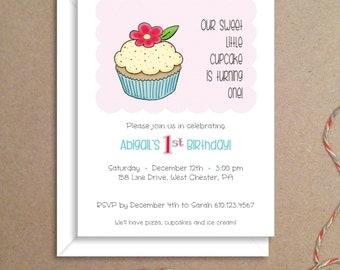 Party Invitations - Cupcake Invitations - Birthday Party Invitations - Illustrated Invitations - Custom Invitations