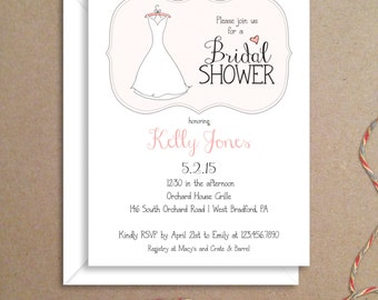 Bridal Shower Invitations - Wedding Gown Invitations - Party Invitations - Illustrated Invitations - Custom Invitations