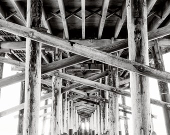 Newport Beach Pier Photography Print or Wrapped Canvas Black and White Under the Pier Fine Art Photograph Wall Art Decor