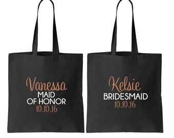 4 Bridesmaid Tote, Bride Tote, Bridal Party Totes, Wedding Bag, Bridesmaid Gift, Tote Bags