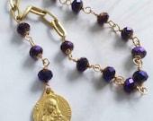Chaplet - Purple Velvet Crystal St Mary Magdalene Chaplet