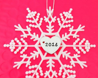 Personalized Heart Snowflake Christmas Ornament | 2016 Gift | Hand Stamped Keepsake | Name or Year | White Sparkle Decoration | Winter Decor