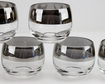 Mid Century Silver Band Roly Poly Glasses Dorothy Thorpe Style  Set of 6