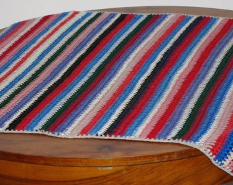 Cute Crochet Afghan Blanket Soft Throw Blanket Cozy Lap Blanket Multi-color striped crochet, Wool, Stripes, Hand made, Knitted ripple throw