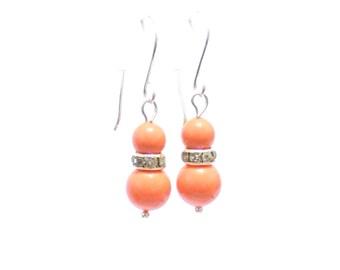 Pearl bridal earrings , coral earring ,  womens earring , bridal earrings , coral pearl earrings , fashion earrings , fashion jewelry
