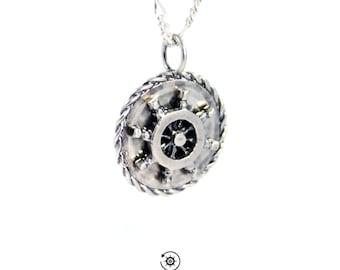 Ship wheel necklace pendant, pirate necklace, boat necklace, nautical necklace, ocean necklace, sea necklace