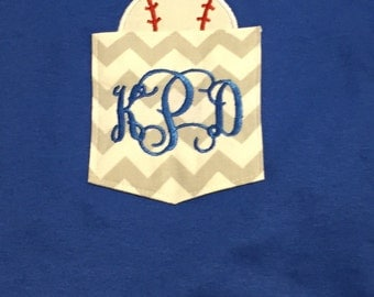 Monogrammed Chevron Pocket T-shirt with Appliqued Baseball in Pocket. Perfect for Baseball Moms or Grandmothers!