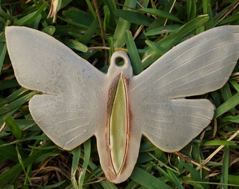 OOAK Ceramic Moth Ornament or Wall Hanging