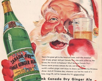 Vintage Christmas ad from Saturday Evening Post 1938, Santa drinking Canada Dry Ginger Ale, 10 x 13 in - PD001222