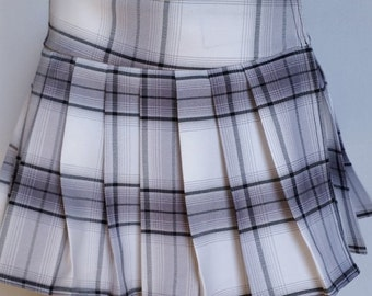 Plus Size White, Tartan, Stewart, School Girl Plaid Skirts (OPENS / CLOSES with hook and loop fasteners strip)