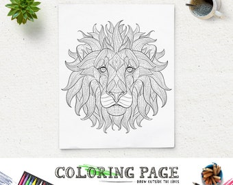 Printable Coloring Page Lion Animal Pages Instant Download Adult Book