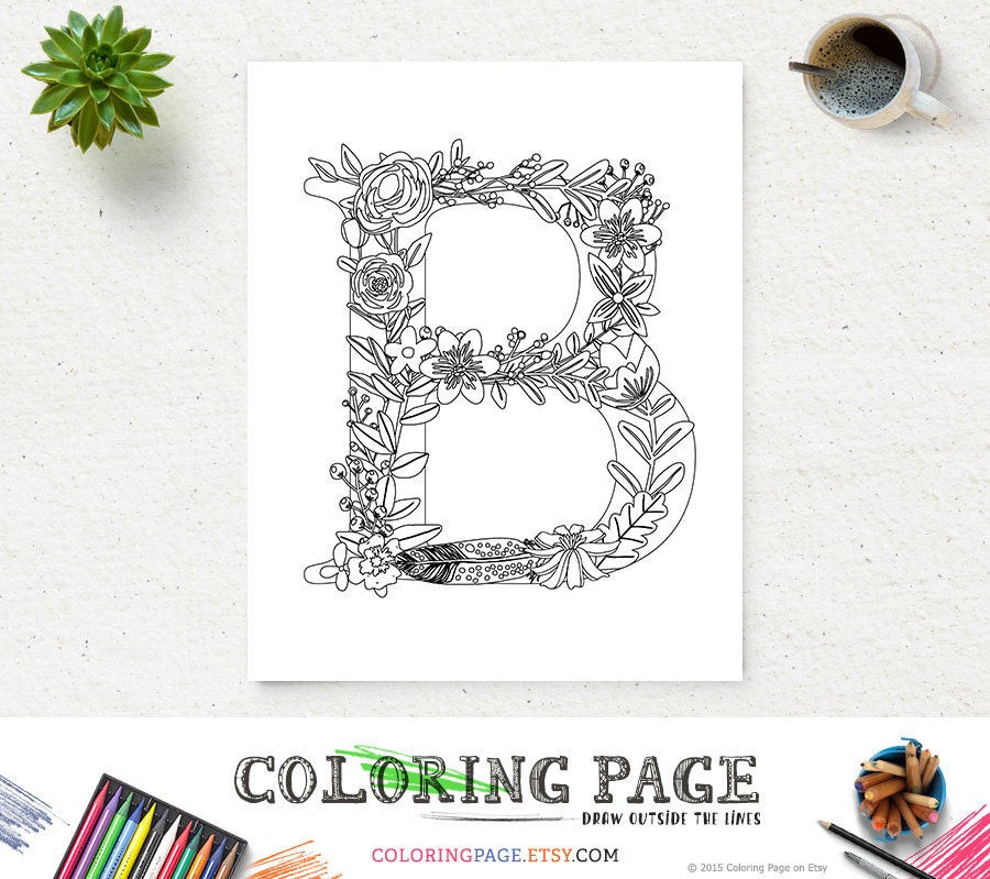 Floral Letters Coloring : Floral font handdrawn vector capital alphabet stock
