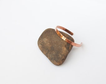 Flat hammered cuff bracelet in copper, beautifully simple