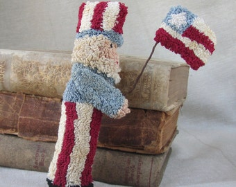 Punch Needle Pattern~Uncle Sam Bowl Filler or Shelf sitter -Patriotic Folk Art -Digital Needle Punch Pattern -PDF Instant Download