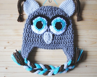 Baby Owl Hat, Christmas Baby, Crochet Owl Hat, Baby Owl Outfit, Owl Hat, Grey Baby Hat, Blue and Grey, Newborn Photography, Photography Prop