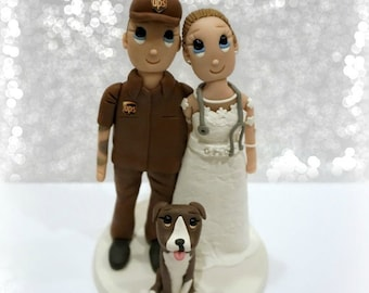 Custom UPS Man and Nurse Bride Wedding Cake Topper