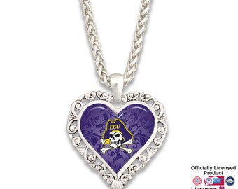East Carolina Pirates Ornate Heart Necklace - ECU57440