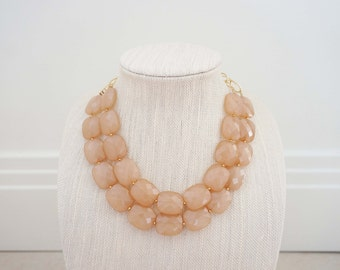 Champagne Faceted Gem Statment Necklace