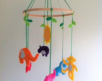 Custom Made Jungle Animal Nursery Mobile - with an elephant, monkey, giraffe, alligator, hippo and lion