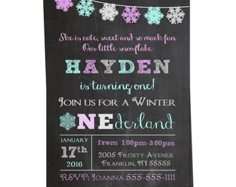 Winter ONEderland Invitation- Winter Wonderland Invitation - Chalkboard Snowflake Birthday  - Printable Invitation - First Birthday