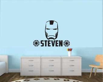 Vinyl Iron Man Personalized Wall Decal, Superhero Wall Art, Customized Boys  Room Vinyl Wall Part 74