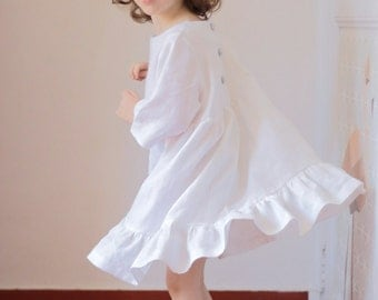 flower girl linen dress with Liberty details - summer dress for toddler and girl - baptism or bridesmaid dress