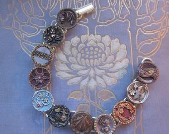 Metal Picture Button Bracelet. Great Workmanship From the Past Button Bracelet. 1800's Buttons Original Tints, Twinkles B987