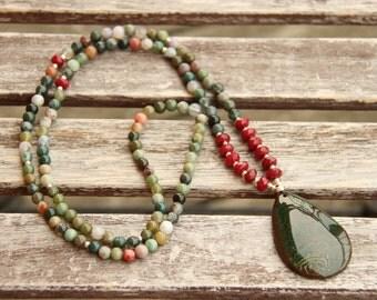 Beautiful agate gemstone necklace, Stone pendant necklace