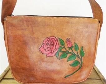 Vintage Handcrafted Tan Leather Painted Tooled Rose Western Bag Shoulder Purse