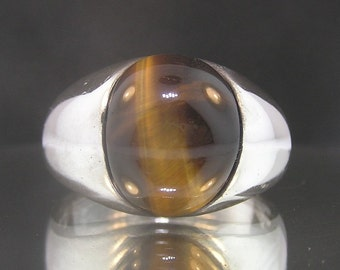 Vintage Sterling Silver .925 Large Tiger's Eye Heavy Estate Ring