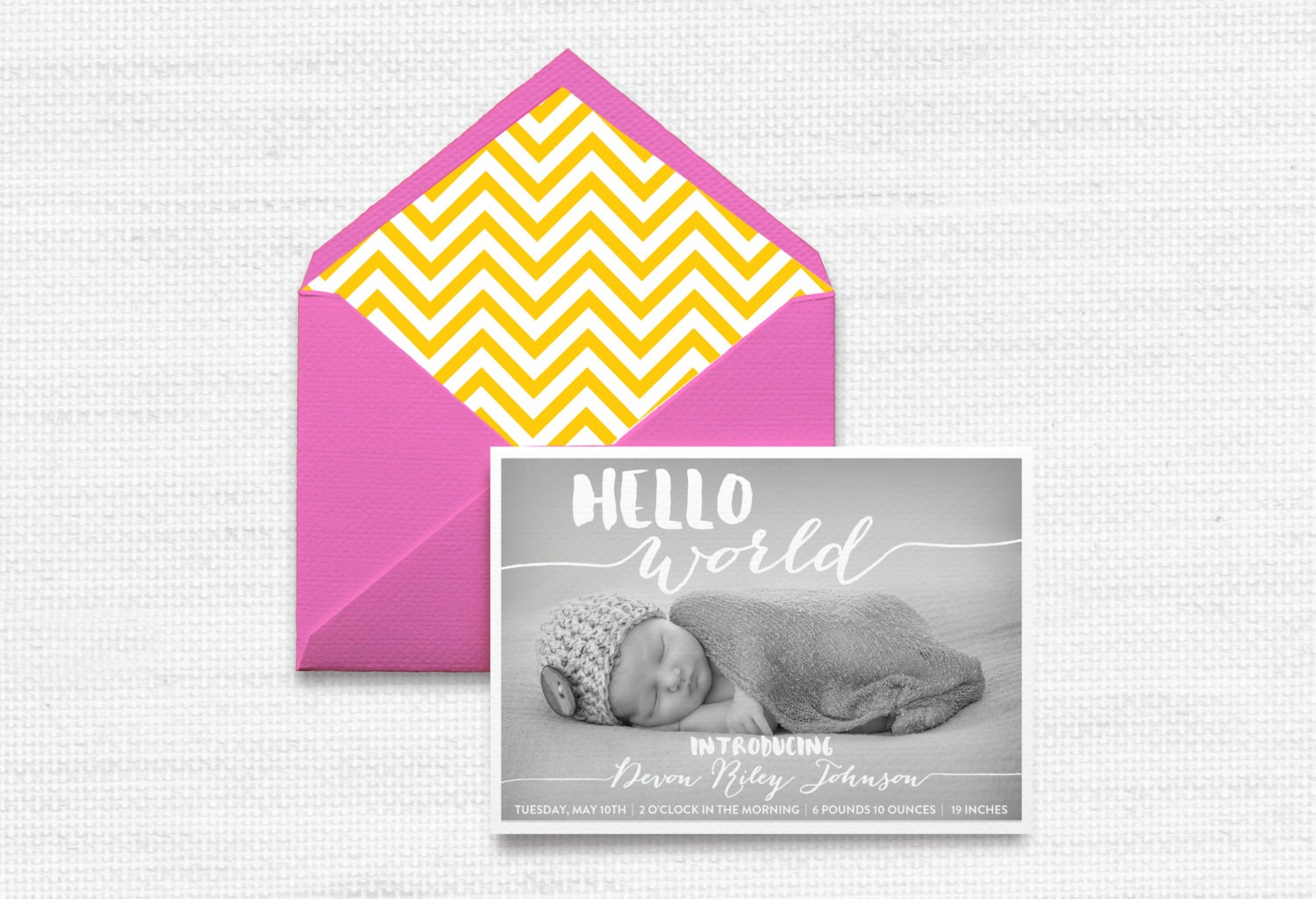 Hello World Birth Announcement Baby Announcement Newborn