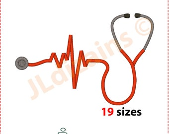 Stethoscope Embroidery Design. Embroidery designs. Heartbeat stethoscope embroidery Medical stethoscope embroidery Machine embroidery design