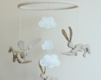 Linen Bunny Nursery mobile, Crib Mobile, Cloud Baby Mobile for Kids room, nursery decor.