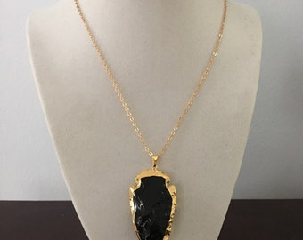 LIMITED EDITION Rough Black Obsidian Arrow Pendant Long Gold Necklace