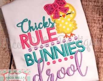 Chicks Rule Bunnies Drool Easter Baby Girls Shirt Onesie Girls T-shirt Embroidery Clothing