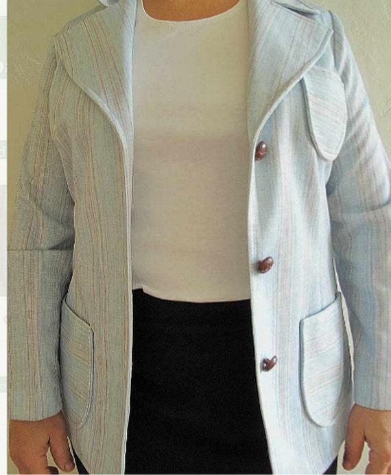 Vintage 70s blazer, size 8, light blue polyester double knit, wide lapels jacket, womens blue blazer, 70s stylish jacket, pantsuit jacket