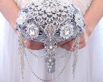 BROOCH BOUQUET  Cascading, jeweled alternative wedding broach bouqet silver gray princess pearl Broach bouqet