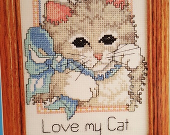 """DIY (5""""x 7"""") Love Me,Love My Cat/Counted cross stitch kit/By:Candamar Designs INC. /#5008/New"""