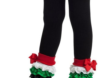Christmas leggings, ruffle tights, holiday, footless, girls and baby tights 0-12m to 6-8y